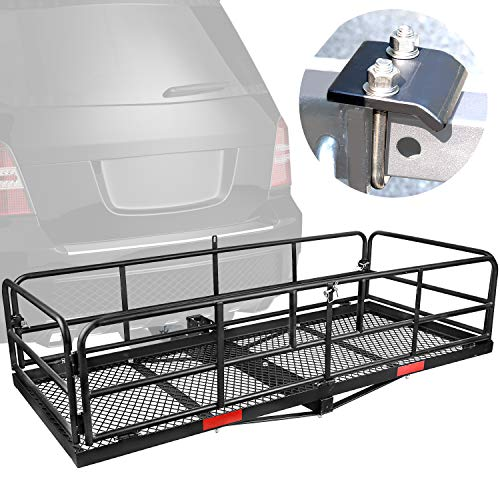 XCAR High Side Folding Hitch Mount Rear Cargo Rack Carrier