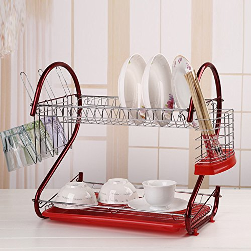 Kaluo 2 Tier Kitchen Dish Drainer Rack Stainless Steel Dryin