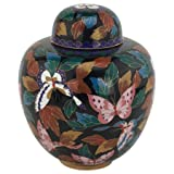 Butterfly Cloisonne Urn, Enameled Metal Cremation Urn for Ashes, 9.5 inches high