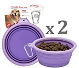 SALE: Prima Pet Collapsible Silicone Water Travel Bowl with Clip for Dog and Cat, Portable and Durable Pop-up Feeder for Convenient On-the-go Feeding – Size: LARGE (5 Cups) PURPLE – 2 PACK