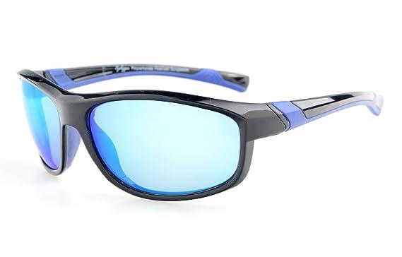 Eyekepper Polycarbonat-polarisierte Sport-Sonnenbrille für Männer Frauen Baseball Laufen Angeln Fahren Golf Softball Wandern TR90 Unbreakable, Black/Green Mirror,