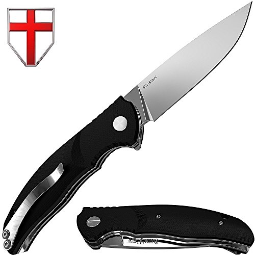 Flipper Knife - Folding Pocket Knife - EDC and Outdoor Fold Classic Stainless Steel 9Cr18MoV Blade with Black G-10 Handle Metal Clip - Best Tourist Knife for Urban Camping and Hiking - Grand Way S-22