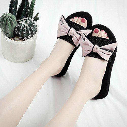 Hausschuhe Tie QingToo Tie mit 35 Stylish und Rosa Wohnung Bow Bow Hausschuhe Sommer Cool rYYqa60w