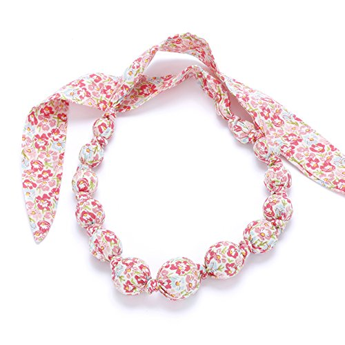 Peppercorn Kids Girls Fabric Necklace (Spring Floral - Rosy (Spring Floral Necklace)