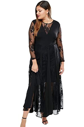 Sunshine Plus Size Dress Black Sheer Long Sleeve Pleated Maxi Dress