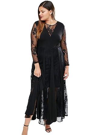 Black Sheer Long Sleeve Pleated Maxi Dress at Amazon Women\'s ...