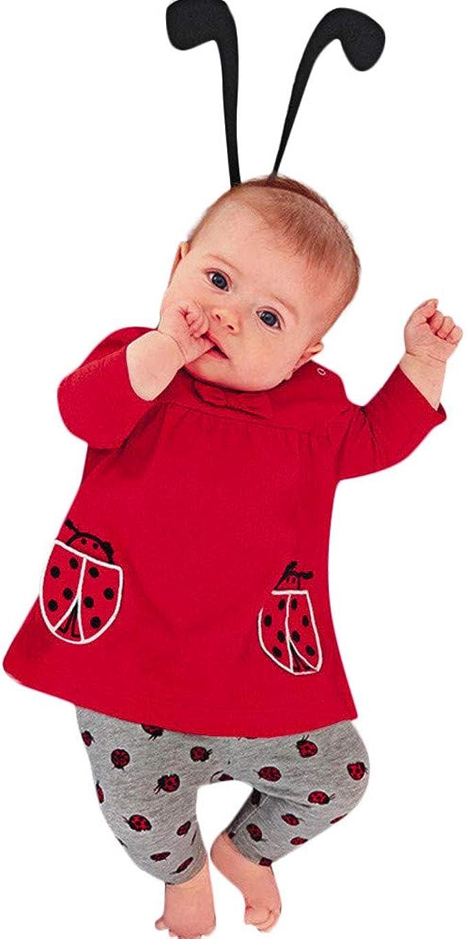 QinMM Conjuntos de bebés niñas Mariquita Imprimir Tops Pantalones ...