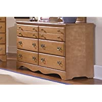 Carolina Furniture Works 155600 Dresser with Double 6 Drawer, Salem Maple