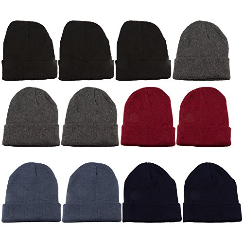 excell 12 Units of Mens Womens Warm Winter Hats in Assorted Colors (Hat Winter Warm Women)