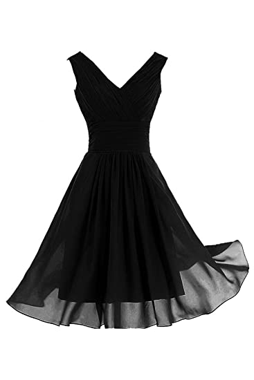 Sunvary A Line V-Neck Bridesmaid Dresses Short Chiffon Cocktail Party Dresses-6-