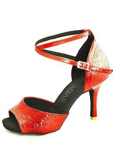 Salsa nbsp;– shangyi nbsp;Mujer rojo rojo nbsp;– nbsp;Latin nbsp;Satén nbsp;– tacón gefertigter nbsp;– nbsp;métrica adaptable zzra7P