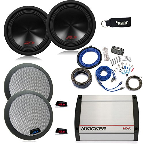 Alpine 12 Inch Type R (SWR-12D2) Subwoofers (2), grills, a Kicker KX1200.1 Amplifier & a CK4 Wiring Kit.