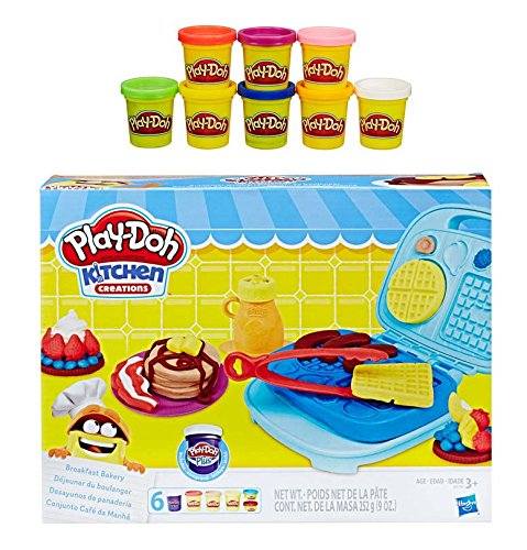 Play Doh Kitchen Creation Breakfast Bakery + Play-Doh Rainbow Starter Pack Bundle