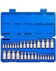 """NEIKO 10288A Master Hex Bit Socket Set   32 Piece   1/4"""", 3/8"""", & 1/2"""" Drives   S2 Steel Precision Machined Bits   Cr-V Steel Socket Construction   Standard SAE and Metric MM Size Sockets"""