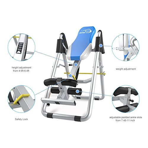 US Stock! Brand Home Sports Equipment Folding Fitness Table Inversion Table Thrapy System Colour Blue