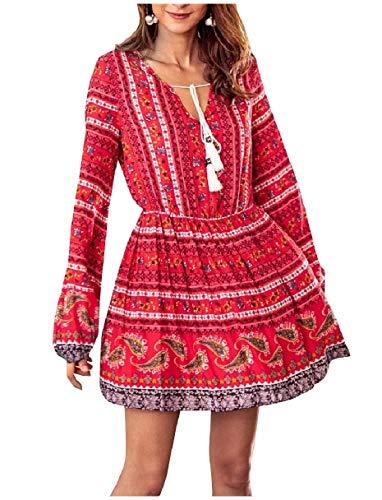 Neck Fashion V Print Long Style Coolred Short Ethnic Sleeve Red Women Dress 1wXtnq08z