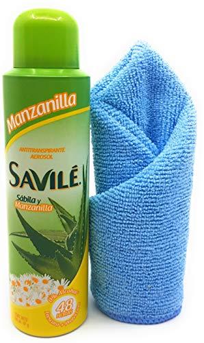 Savile Women's Aerosol Antiperspirant Spray (Pack of 3: Manzanilla) and Tesadorz Microfiber Towel