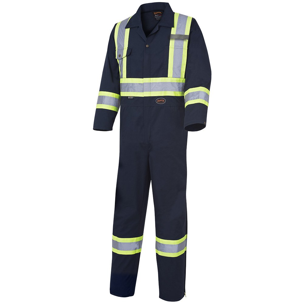Pioneer V202068T-46 Tall Fit Men CSA Work Coverall - Easy Boot Access, High Visibility, Navy Blue, 46