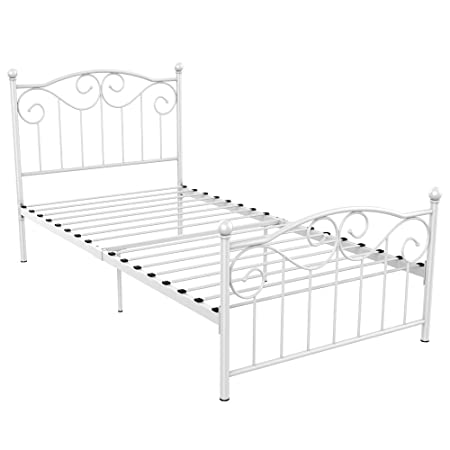 Yaheetech Single Metal Bed Frame Twin Size Vintage Bedstead Wood Slats Support Platform Steel Slats Bed With Headboard & Footboard White by Yaheetech