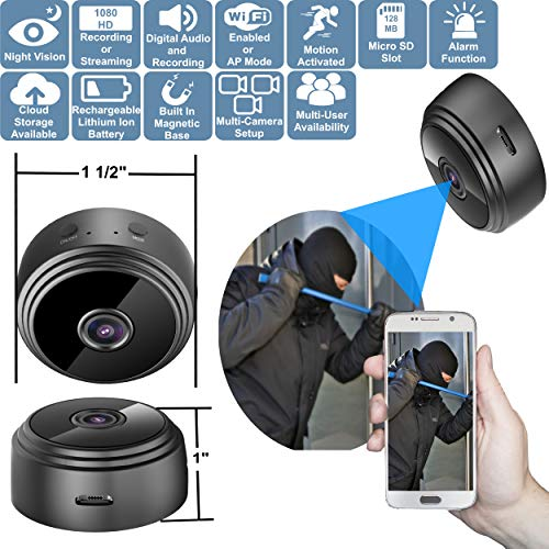Spy Camera | Spy Camera Wireless Hidden | Hidden Camera with Audio | Mini Spy Camera | Hidden Spy Camera | WiFi Spy Camera | Dog Cameras with Phone App with Speaker | Nanny Cam | Car Camera