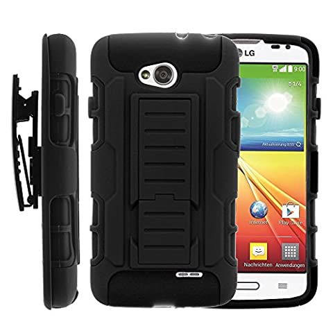 LG Ultimate 2 Case, LG Ultimate 2 Holster, High Impact Advanced Double Layered Hard Cover with Built in Kickstand and Belt Clip for LG Optimus L70 MS323, LG Optimus Exceed 2 VS450PP, LG Realm LS620, LG Ultimate 2 L41C (Metro PCS, Verizon, Boost Mobile) from MINITURTLE | Includes Screen Protector - (Cover De Lg 70)