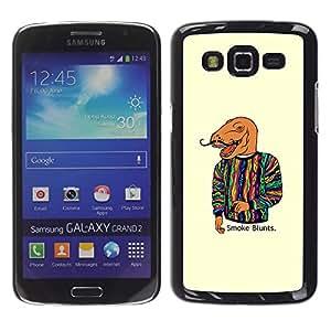 Qstar Arte & diseño plástico duro Fundas Cover Cubre Hard Case Cover para Samsung Galaxy Grand 2 II / SM-G7102 / SM-G7105 ( Dinosaur Art Smoke Quote Fashion Painting)
