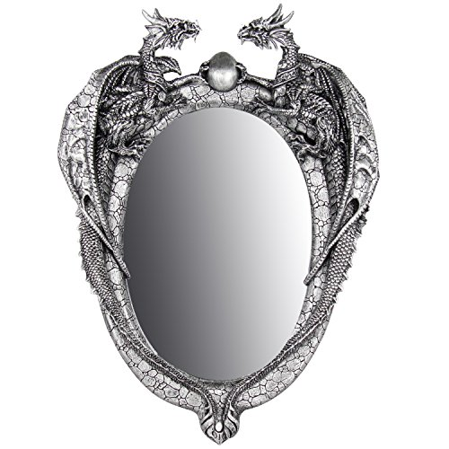 - Pacific Giftware Dragon Twins Sentinel Dragons Guarding Orb Wall Mirror Metallic Pewter Finish 13.5 Inch H