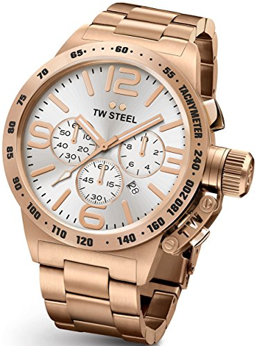 Tw Steel Cb164 Mens Stainless Steel Case Canteen Bracelet Silver Dial Rose Gold Watch