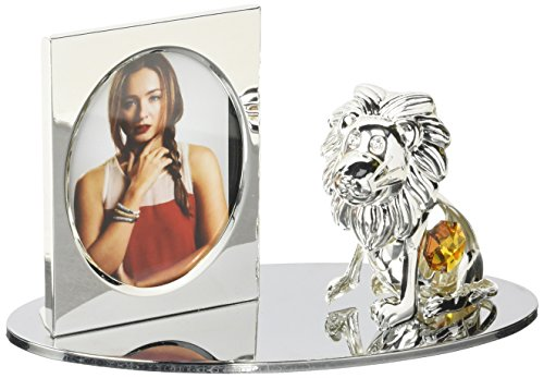 Silver Plated Picture Frame with Crystal Studded Cartoon Lion Figurine on a Base by -