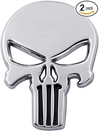 Glossy Silver Metal The Punisher Skull Emblem Badge Car Rear Trunk Logo Sticker