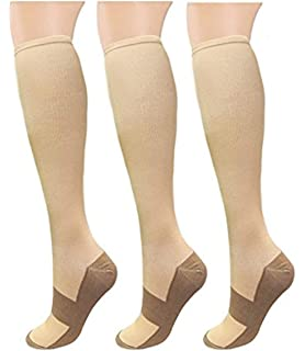Xwanli 3 Pair Copper Compression Socks 15-20mmHg Graduated Support Stockings Men Women