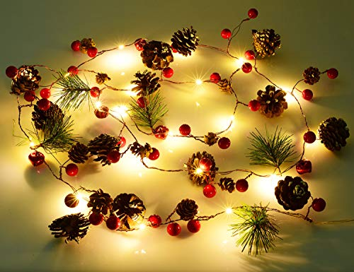 Lvydec 6.7ft Lighted Christmas Garland - 20 LED Red Berry Pine Cone Garland Battery Operated String Lights, Decorations for Christmas Tree Fireplace Banisters (Light Cone Christmas String Tree)