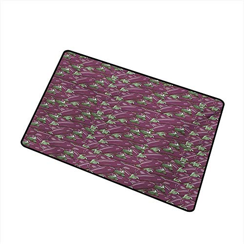 (BeckyWCarr Eggplant Commercial Grade Entrance mat Retro Inspired Stacks of Delicious Eggplants Product of Nature Ingredient Cusine Food for entrances, garages, patios W15.7 x L23.6 Inch,Purple)