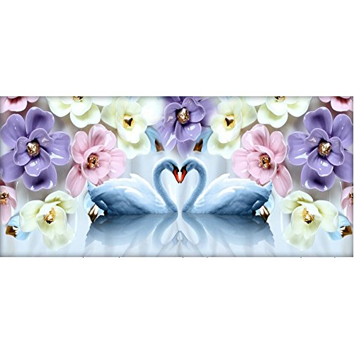 (DIY 5D Diamond Painting by Number Kits, Full Drill Crystal Rhinestone Embroidery Pictures Arts Craft for Home Wall Decoration Swan And Flower 17.7 x 39.4 Inch)