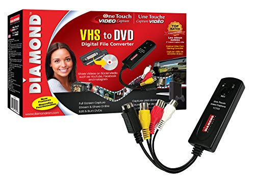 1 Adapter Usb Video Capture - Diamond VC500 USB 2.0 One Touch VHS to DVD Video Capture Device with Easy to use Software, Convert, Edit and Save to Digital Files For Win7, Win8 and Win10
