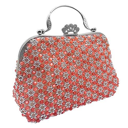 Prettyia DIY Floral Beads Beaded Bag Sewing Making Kit for Adults Beginners Handbag Making Material Package - Red