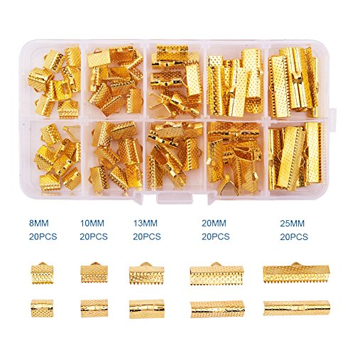 PandaHall Elite 1 Box 100Pcs Assorted Sizes of Mixed Color Ribbon Clamp End Crimps Sets Size 8-25x6-8x5mm in Box for Jewelry Making