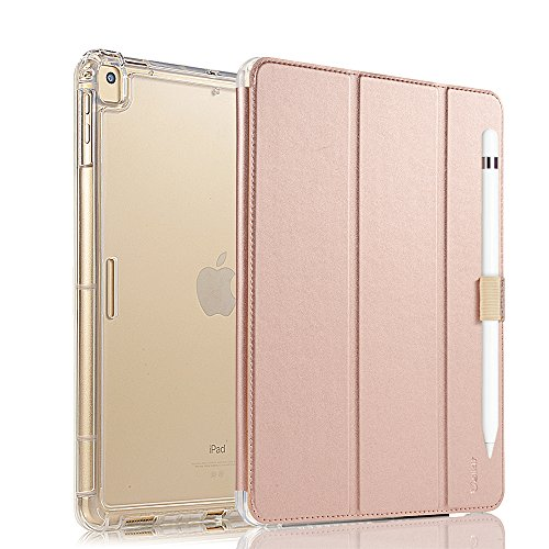 Valkit for New iPad Pro 12.9 2017 Cover, iPad Pro 12.9 Case, Apple iPad Pro 12.9 Inch 2015 Folio Smart Folio Stand Protective Heavy Duty Rugged Armor Cases with Apple Pencil Holder, Rose gold by Valkit