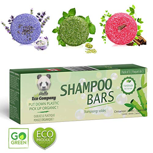 Organic Shampoo Bar 3-Pack - All Natural Essential Oil Anti Dandruff Hair Soap For Itchy Scalp, Psoriasis and Silky Hair - Sulfate and Paraben Free - 3 Scents Lavender, Cinnamon and Peppermint