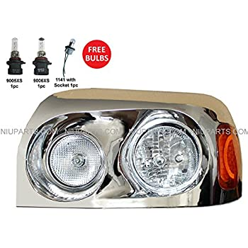 Headlight Chrome with LED Corner Lamp Driver Side (Fit: Freightliner Century)
