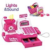 Pink Supermarket Cash Register with Checkout Scanner, Weight Scale, Microphone, Calculator, Play Money and Food Shopping Playset for kids