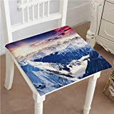 Mikihome Outdoor Chair Cushion Peak Snowy Winter Overcast Sky Sunbeams Adventure Austria Europe White Comfortable, Indoor, Dining Living Room, Kitchen, Office, Den, Washable 26''x26''x2pcs