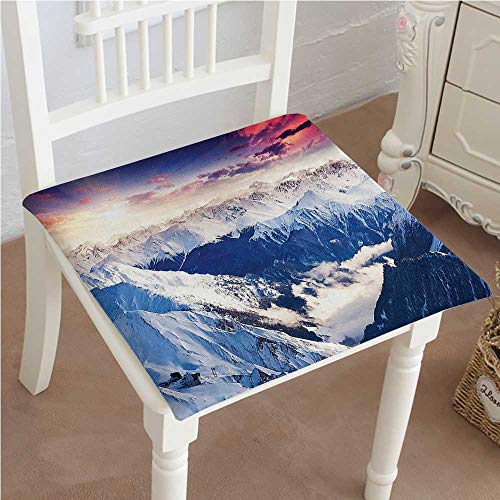 Mikihome Outdoor Chair Cushion Peak Snowy Winter Overcast Sky Sunbeams Adventure Austria Europe White Comfortable, Indoor, Dining Living Room, Kitchen, Office, Den, Washable 26''x26''x2pcs by Mikihome