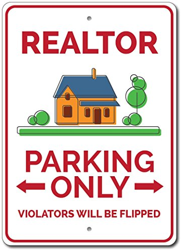 "Realtor Parking Sign, Realtor Gift, Realtor Sign, Realtor Home Decor, Realtor Present, Realty Sign, Realty Gift -Quality Aluminum - 12""x18"" Quality Aluminum Sign"