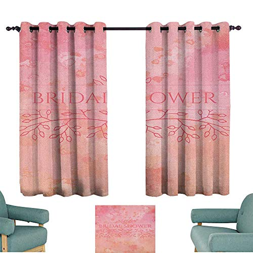 WinfreyDecor Bridal Shower Durable Curtain Bride Invitation Grunge Abstract Backdrop Floral Design Print Privacy Protection 72