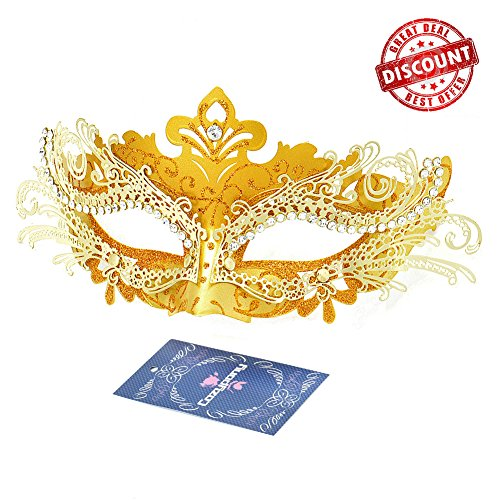 [Masquerade Masks, Cozypony Lacer Cut Luxury Princess Venetian Ball Masks with Rhinestone for Halloween Mardi Gras Party or Wedding (One Size,] (Masquerade Masks Metal)