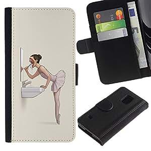 KLONGSHOP // Tirón de la caja Cartera de cuero con ranuras para tarjetas - El mal de la bailarina Nightmare - Goth - Samsung Galaxy S5 V SM-G900 //