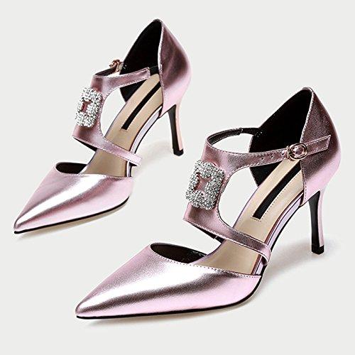 pour Chaussures pink Chaussures de Talons Saison Strass Cuir DKFJKI Chaussures Creuse Fête en Hauts Chaussures à de Sandales Femmes pxqfU6w5g