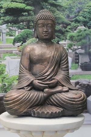 Ornate Stone Fan Buddha Garden Ornament Statue