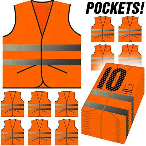 PeerBasics, Pocket Safety Vest 10 Pack, Orange Reflective High Visibility, Hi Vis Silver Strip, Men & Women, Work, Cycling, Runner, Surveyor, Volunteer, Guard, Road, Construction (10, Neon Orange)